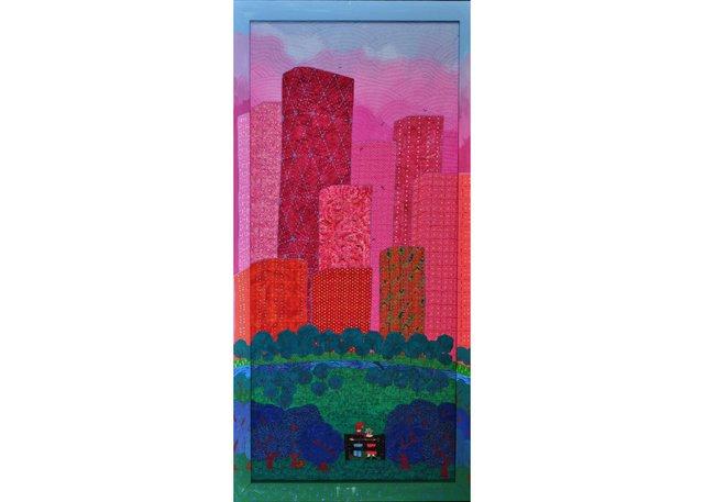 """Hélène Blanchet, """"Pink City,"""" 2017, textile, 39"""" x 19"""""""