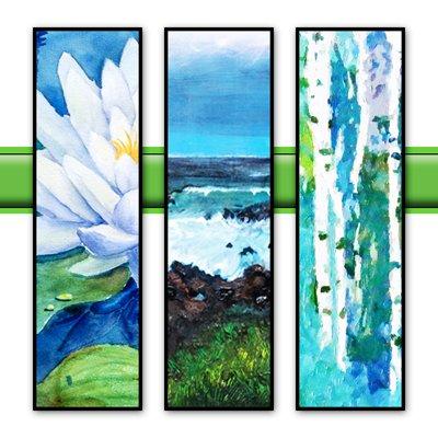 """Terri Heinrichs, """"3 paintings,"""" 2021"""
