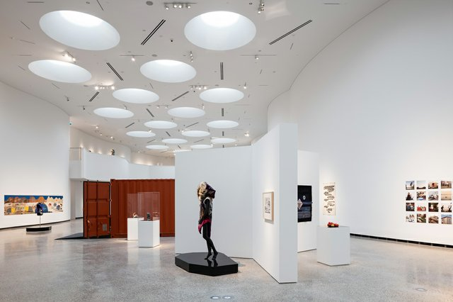 Qilak, the main Inuit gallery in Qaumajuq, the Inuit art centre at the Winnipeg Art Gallery. (photo by Lindsay Reid)