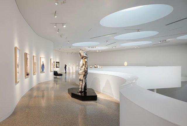 The mezzanine gallery in Qaumajuq, the Inuit art centre at the Winnipeg Art Gallery. (photo by Lindsay Reid)