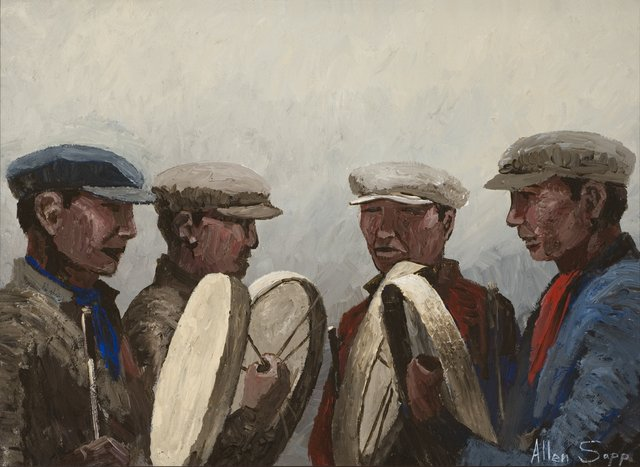 """AllenSapp, """"Indian Drums,""""1972,acrylic on canvas, 23"""" x 29"""" (courtesy the Senate's National Curatorial Interpretation Project)"""