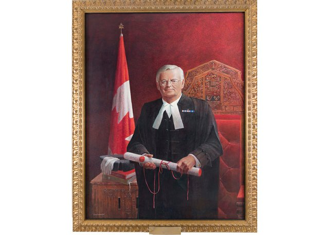 """Tom Forrestall, """"Portrait of the Honourable Noël Kinsella,""""2007-2008, acrylic on canvas,70"""" x 56"""" (courtesy the Senate's National Curatorial Interpretation Project)"""