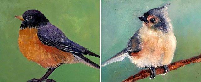 """Lori Goldberg, """"Spring Robin (left) and Little Bushtit,"""" 2021"""