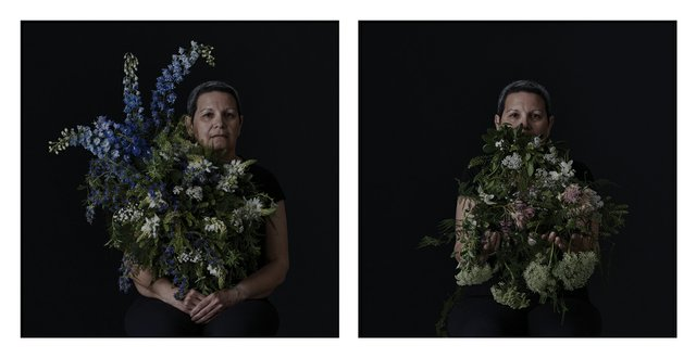 "Erika DeFreitas, ""(les pâles se sont ouverts): On Larkspurs and Sorrows"" (left) and ""(les pâles se sont ouverts): On Pincushions and Lace,"" 2017, digital inkjet print, 40"" x 40"" each (courtesy of the artist)"