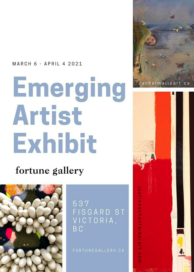 """Rachel Marie, Lyndsay McKay andJustice Schanfarber, """"Emerging Artist Exhibit,"""" 2021"""