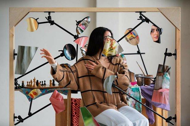 "Adad Hannah, ""Studio Portrait (Young Woman in a Sweater II),"" 2021"