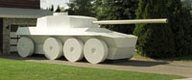 """Full-sized model of a Rooikat tank"""