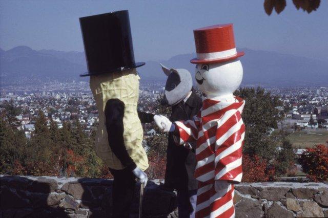 """Vincent Trasov, Gary Lee-Nova and Robert Fones, """"Mr. Peanut, Art Rat and Can.D.Man,""""  At Queen Elizabeth Park, Vancouver,"""" C. 1974"""