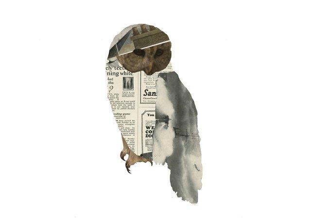"Sarah Fuller, ""Owl,"" 2016, collage, 7"" x 6.5"""