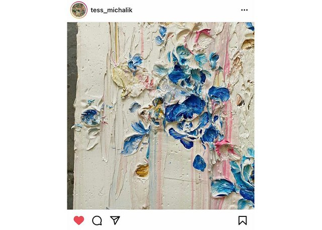 """An Instagram post from @tess_michalik: """"It's kind of a rose pattern."""""""