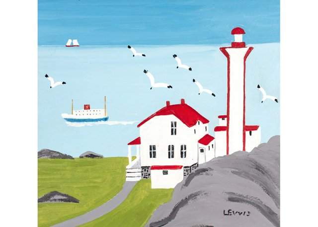 """Maud Lewis,""""Lighthouse and Ferry at CapeForchu, Yarmouth County,""""1960s"""