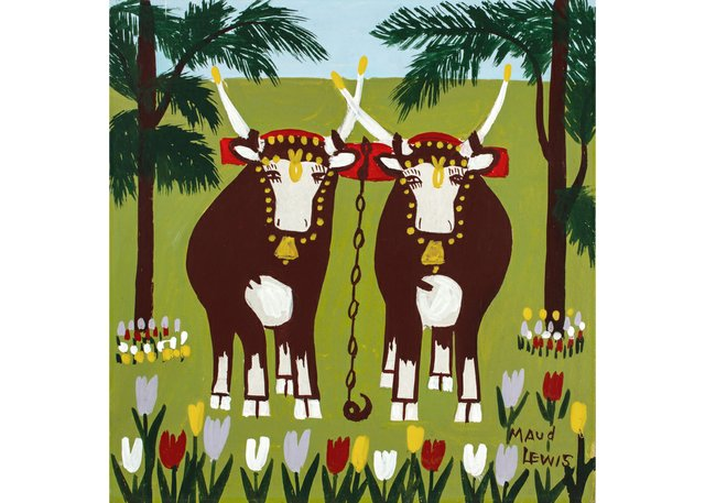 """Maud Lewis,""""Two Oxen inSpring,"""" 1960s"""