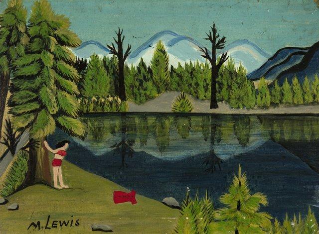 "Maud Lewis,""Girl by Lake,"" 1940s"