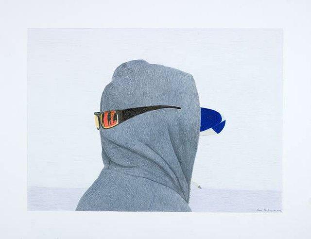 "Itee Pootoogook (1951 ‑ 2014), ""Untitled (Man with Hoodie and Sunglasses),"" 2012"