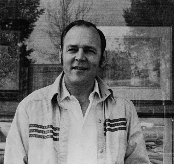 Peter Ohler Sr. in front of Masters Gallery's former location in Calgary around 1980.
