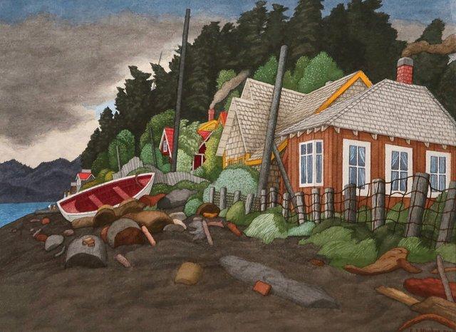"""E.J. Hughes, """"Houses, Qualicum Beach,"""" 2000"""