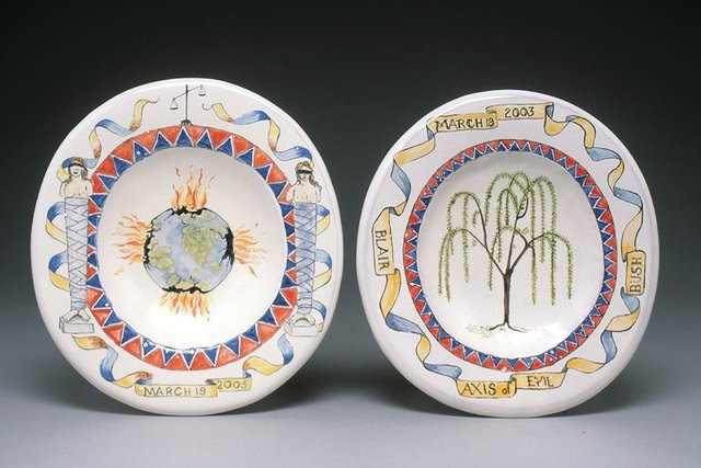 """Walter Ostrom, """"The Lady Macbeth Commemorative Soap Dish Series I, Axis of Evil (Exploding World and Caryatids) and (Weeping Willow),"""" 2003"""