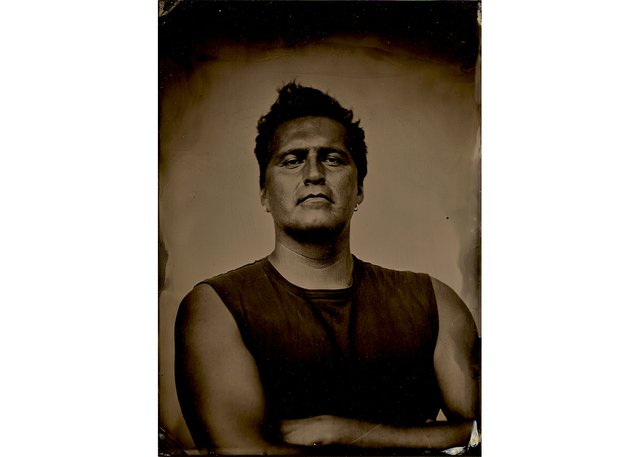 Collodion wet plate self-portrait by Adrian Stimson (courtesy of artist)