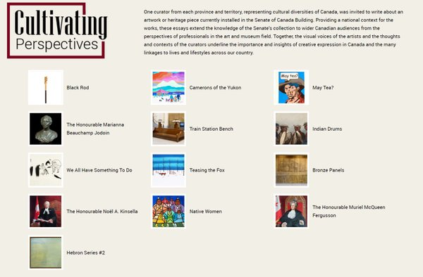 """Screenshot of the Senate of Canada's virtual exhibition """"Cultivating Perspectives."""""""