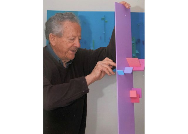 Eli Bornstein with one of his structures. (courtesy of artist)