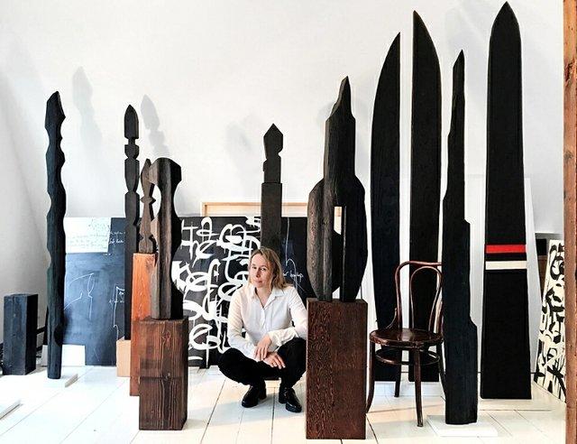 "Neshka Krusche, ""Krusche with sculptures,"" 2021"