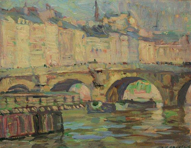 """A.Y. Jackson, """"Ile de la Cité, Paris Pont Neuf,"""" 1912"""