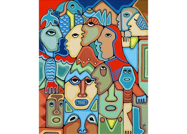 "Daphne Odjig, ""Among the Totems,"" 1992"