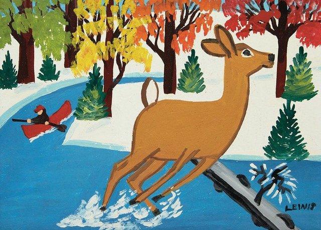 """Maud Lewis, """"Surprised Deer,"""" 1961"""