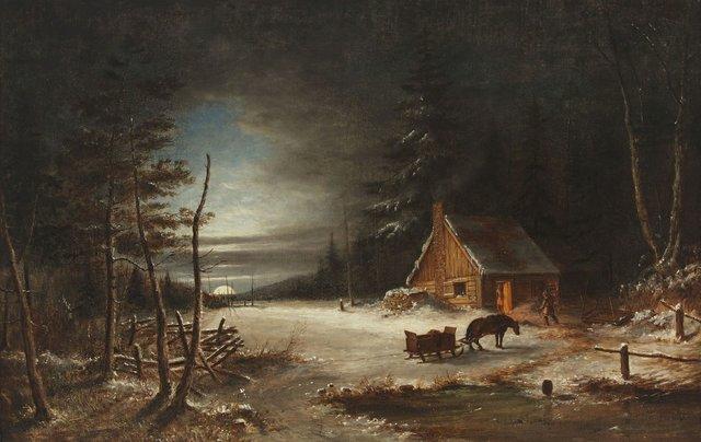 """Cornelius Krieghoff, """"Moonlight,"""" oil on canvas"""