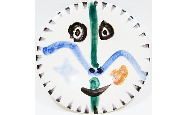 """Pablo Picasso, """"Visage No. 111 (A. Ramié 746),"""" white earthenware ceramic plate with coloured engobe and glaze"""