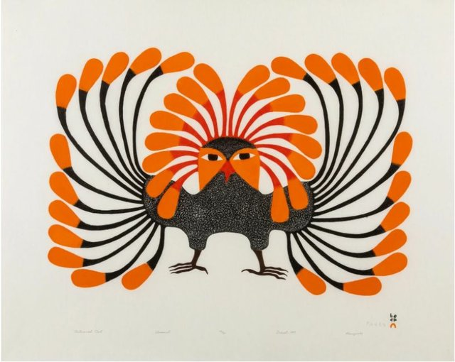 "Kenojuak Ashevak, ""Autumnal Owl,"" 1999"