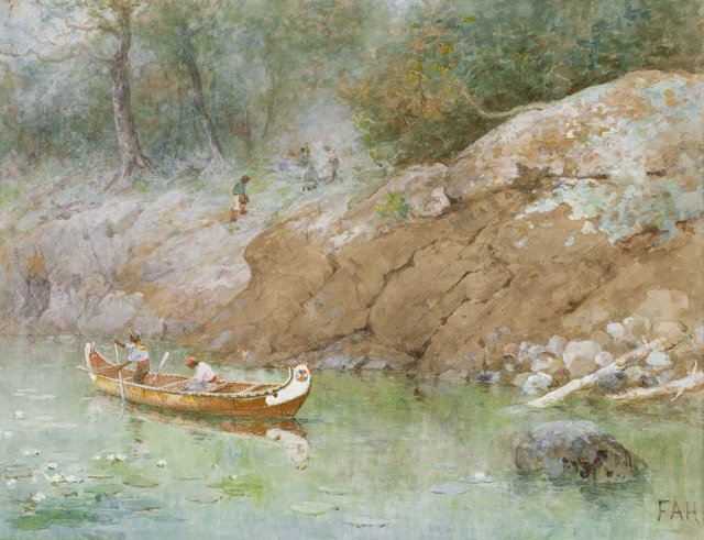 "Frances Anne Hopkins, ""A Green Pool, French River, Canada,"" circa 1864"
