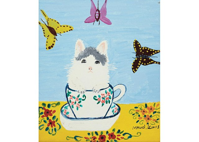 """Maud Lewis, """"White Kitten in a Tea Cup,"""" no date"""