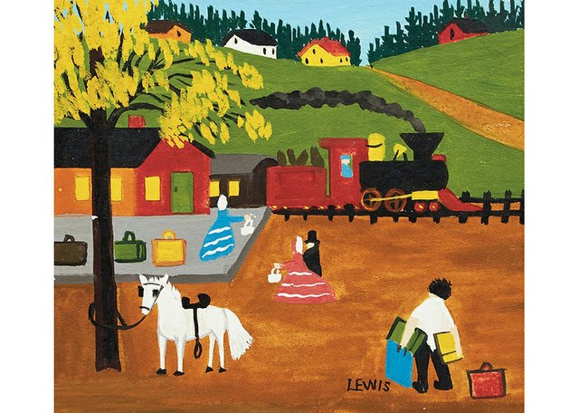 """Maud Lewis, """"At the Train Station,"""" no date"""