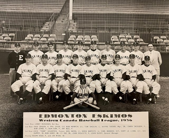 Kenneth Heffel, a catcher, second from left in the back row, played in the Western Canada Baseball League. (courtesy Heffel)