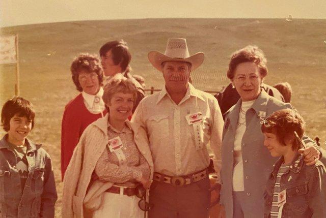 The Heffel family at their ranch near Camrose, Alta., showing  (from left to right) David Heffel, Marjorie Heffel, Kenneth Heffel, an unidentified family friend and Robert Heffel (courtesy Heffel)