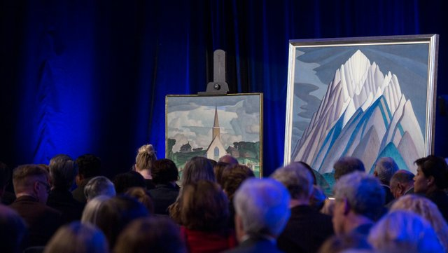 """""""Mountain Forms,"""" a 1926 painting by Lawren Harris, sold for a record  $11.2 million in 2016, the most expensive artwork to sell at a Canadian auction. (courtesy Maclean's, photo by Nick Iwanyshyn)"""
