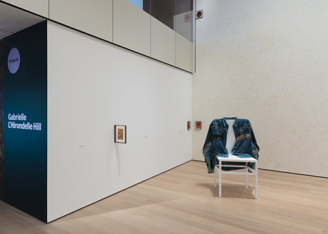 """Installation view of the exhibition """"Projects: Gabrielle L'Hirondelle Hill,"""" showing """"Desperate Living, for E.S.,""""2018, in the foreground, at the Museum of Modern Art in New York fromApril 24, 2021 to Aug. 15, 2021 (photo by Denis Doorly)"""