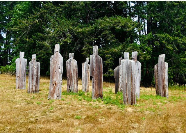 "Michael Dennis, ""Council of Elders,"" 2012, red cedar, installation view on Salt Spring Island, B.C. (photo by Portia Priegert)"