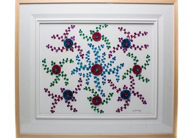 """Jennifer Buckley, """"United,"""" 2020, framed fish scale artwork 24″ x 30″  (courtesy N.W.T. Arts)"""