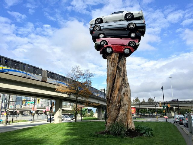 """Marcus Bowcott and Helene Aspinall, """"Trans Am Totem,"""" installation view at the intersection of Quebec Street and Milross Avenue in 2015. (photo by Janet McDonald)"""