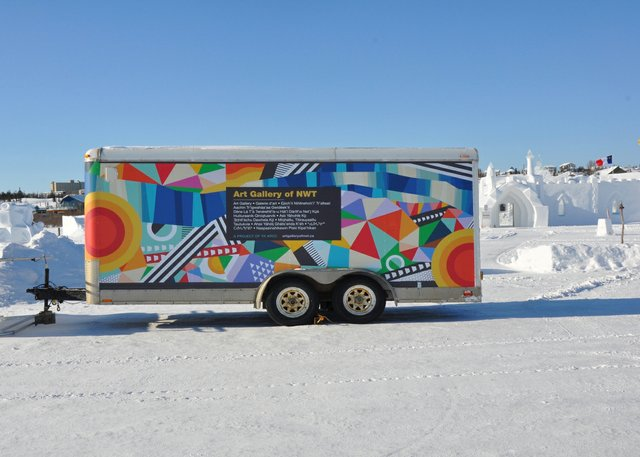 The humorously titled Art Gallery of NWT at the 2020 Snowking Winter Festival. (courtesy YK ARCC)