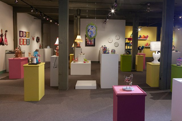 """Installation view of """"Kitsch! Craft So Bad That It's Good,"""" at the Alberta Craft Council in Edmonton, 2021 (courtesy of council; photo by Pause Photography)"""