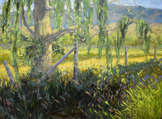 """Ann Willsie, """"Into the Meadow,"""" from the """"Guardians of Eternity"""" series, 2021, oil on canvas, 36″ x 48″ (courtesy the artist)"""