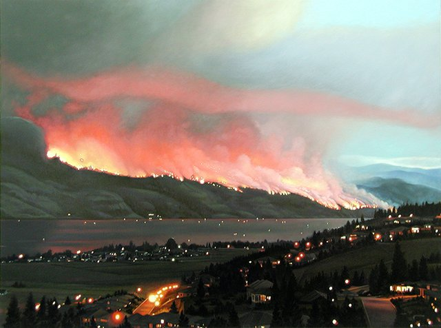 """Joice Hall used photos she took from her deck for the oil on canvas painting """"Impending Firestorm,"""" which shows the 2003 Okanagan Mountain Park Fire on the east side of Okanagan Lake. (courtesy the artist, photo by John Hall)"""