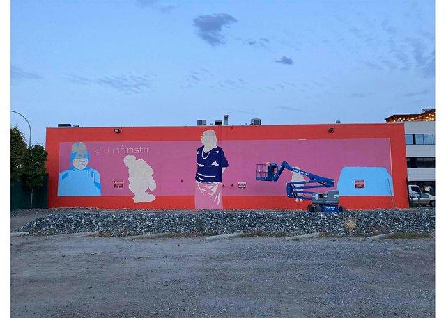 A mural by Sheldon Pierre Louis is in progress on the side of the Kelowna Gospel Mission. (courtesy the artist)