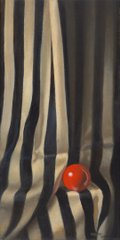 """Catherine Moffat, """"Solitary Red Ball in Stripes,"""" 2021"""