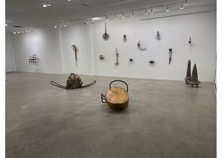 """Installation view of """"Shaping Calgary,"""" 2021, at the Herringer Kiss Gallery in Calgary."""