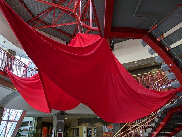"""Mary Joyce, """"Red Felt Square Hanging/Le carré du feutre rouge,"""" 2014"""