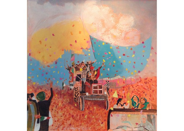 """Mary Joyce, """"Indian Farmers Flowers Shower/La pluie des fleurs des fermiers etfermièresde l'Inde,"""" 2021"""